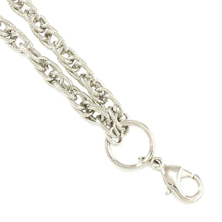 "South Hill Designs Silver Textured Interlocking Link Chain 18-21"" 26.00"