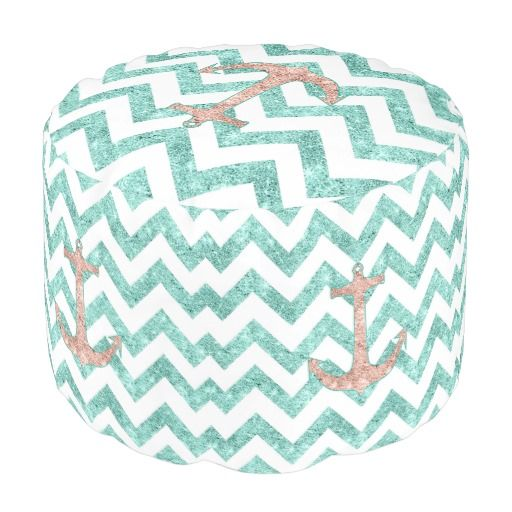 Coral Glitter Nautical Anchor Teal Chevron Zigzags. A modern version of the vintage and retro sailor anchor featuring a girly coral pink glitter nautical anchor design with a girly teal aqua zigzags chevron pattern on a white background. Perfect gift for her, the marine lover and the girly girl Please note, none of the element are glitter or shiny, this is only a printed image