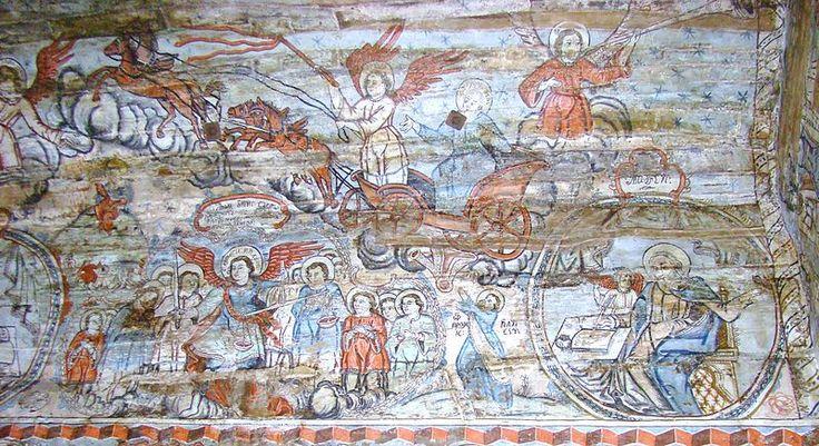 Biserica de lemn din Bârsana, de pe dealul Jbâr - sus: Înălțarea sfântului Ilie, Înger trâmbițând; Jos: Soborul Arhanghelilor; Evanghelistul Matei