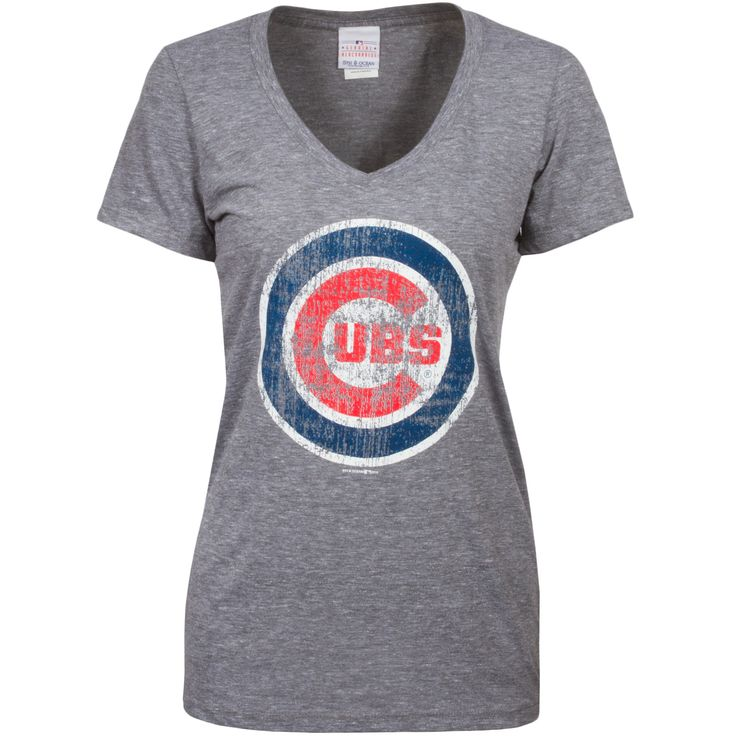 Chicago Cubs Womens Grey V-Neck Triblend Tee with Distressed Bullseye Logo  by 5th &