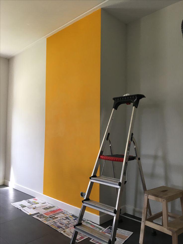 Mijn gele muur in wording #okergeel #Histor #goud #1573-Y10R
