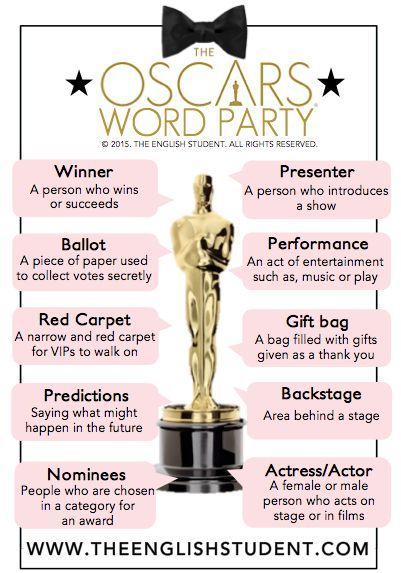 Everyone is invited to The Oscars Word Party!  www.theenglishstudent.com