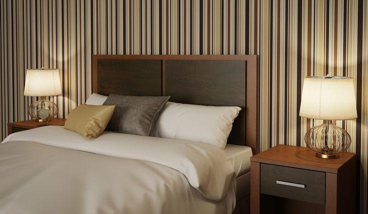 Queen bed hotel room 3D.