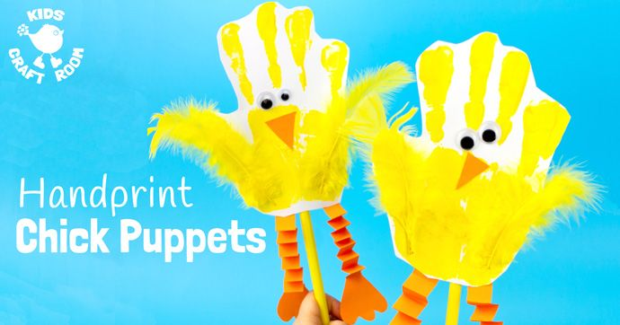 Handprint Chick Puppets is an adorable chick craft kids can play with! A fun Spring and Easter craft for kids that promotes dramatic play and story telling.