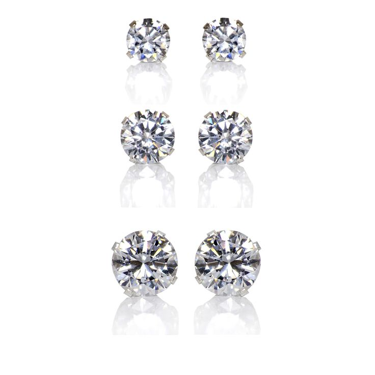 Everyone deserves to look and feel beautiful, and you can with these affordable, diamond-like cubic zirconia sterling silver earring studs. This set includes one pair each of a 4 mm, 6 mm and 8 mm spa
