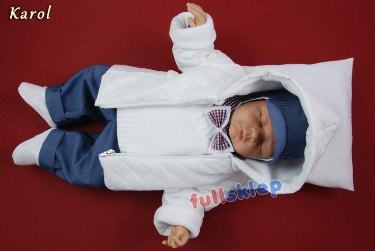 Zimowy kompletny chłopięcy garniturek do chrztu. W skład kompletu wchodzą 6 elementy.
