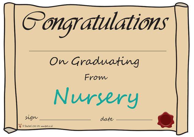 Teacher's Pet - Nursery Graduation Certificate - FREE Classroom Display Resource - EYFS, KS1, KS2, awards, certificates, graduate