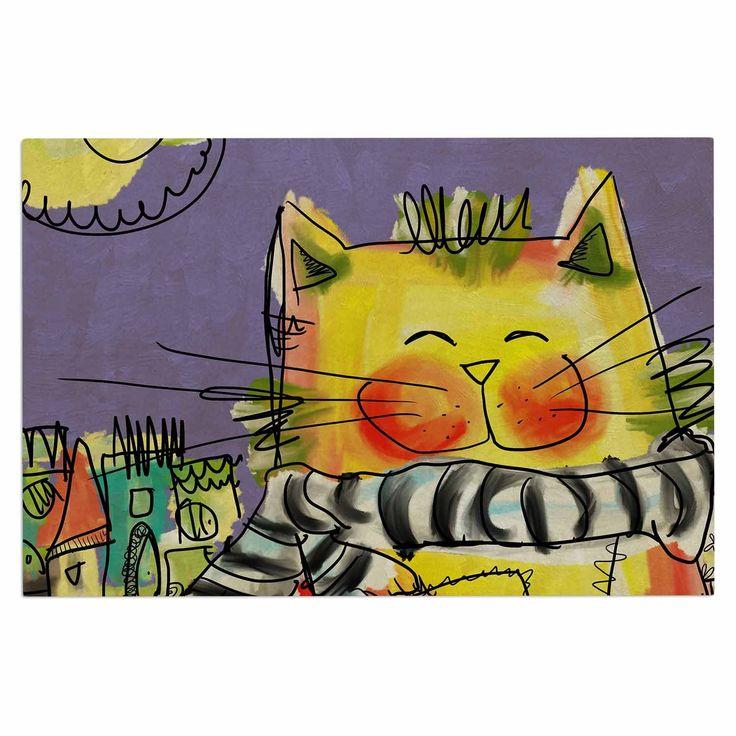 "Carina Povarchik ""Urban Cat With Scarf"" Yellow Illustration Decorative Door Mat"