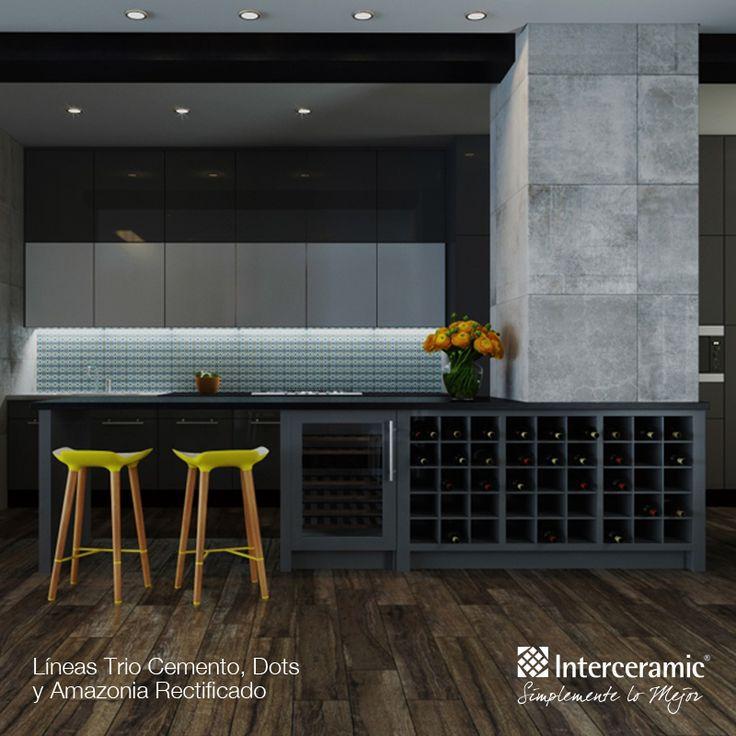 Trio cemento dots y amazonia rectificado de interceramic for Azulejos para cocina interceramic