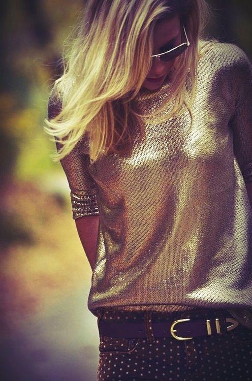 gold sweater + polka dot pants http://tallskinnyrich.com/blog/2012/12/gold-sweater-moment/