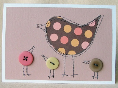 Stitched card with buttons - cute