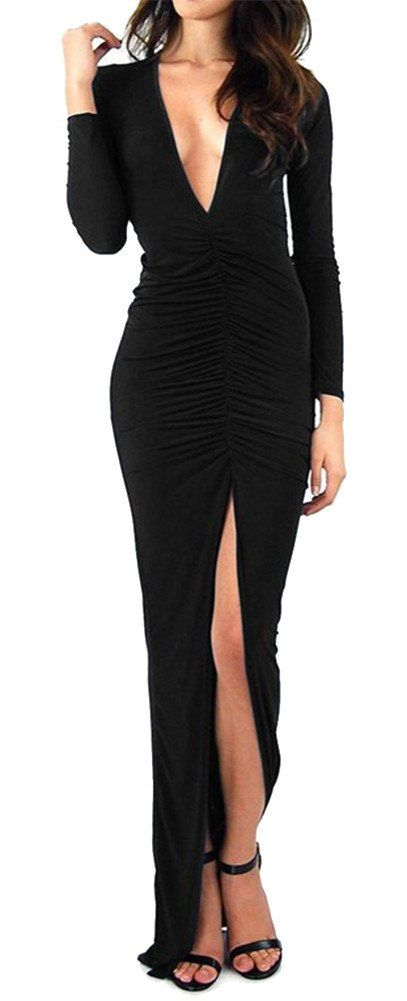 made2envy Deep V Neck Maxi Dress with Long Sleeves and High Front Slit