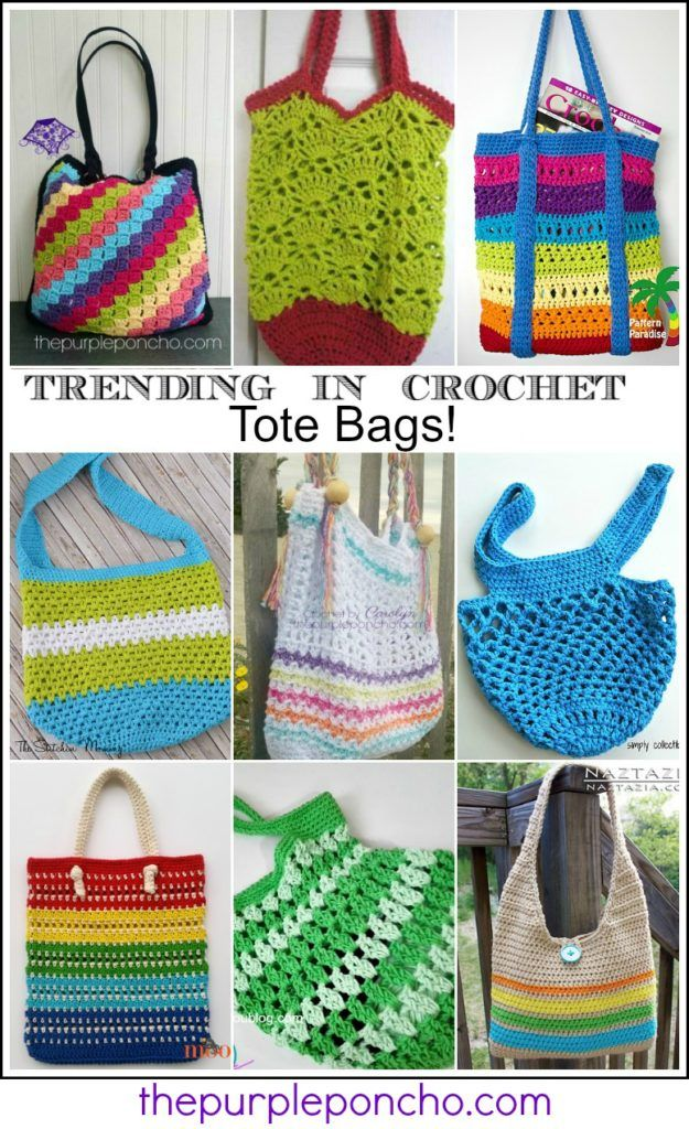 Trending In Crochet – Tote Bags! on The Purple Poncho. Learn new stitches, use up stash yarn, makes a great gift!
