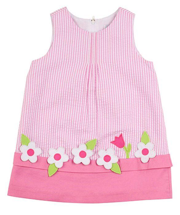 Florence Eiseman Girls Pink Striped Seersucker Window Box Dress