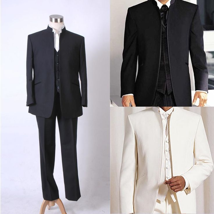 Men Mandarin Suit Wedding Band Collar Tuxedo No Button