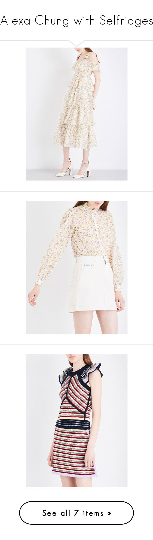 """""""Alexa Chung with Selfridges"""" by selfridges ❤ liked on Polyvore featuring dresses, floral dresses, short dresses, cut out shoulder dress, white flare dress, floral fit-and-flare dresses, tops, blouses, ruffle collar blouse and cotton voile blouse"""