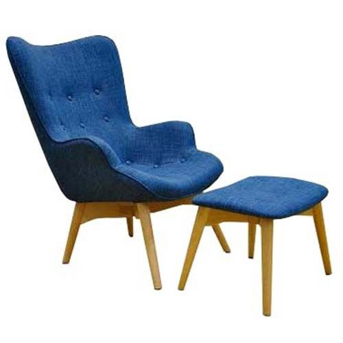 Grant Featherston Chair and Ottoman - Linen - Blue - Replica
