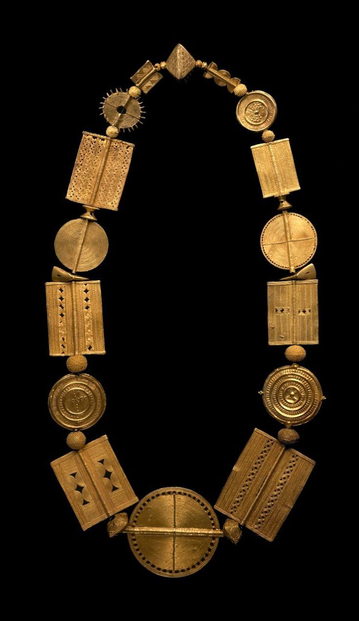 Pectoral, necklace and rings (1, 2, 3) from the Akan people, ca. 1900.