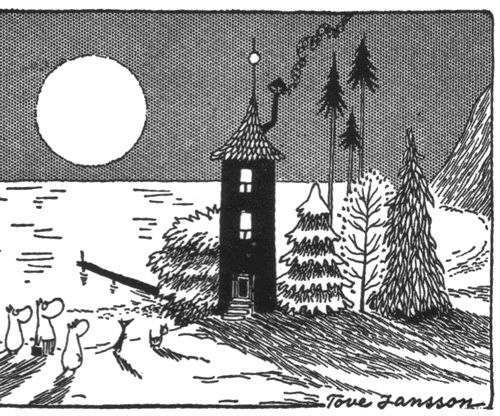 I adore Jansson's drawings for her own books. This is the Moomins and Sniff in front of their cute blue house. I bet that's an awesome pie of Moominmama's baking in the oven.