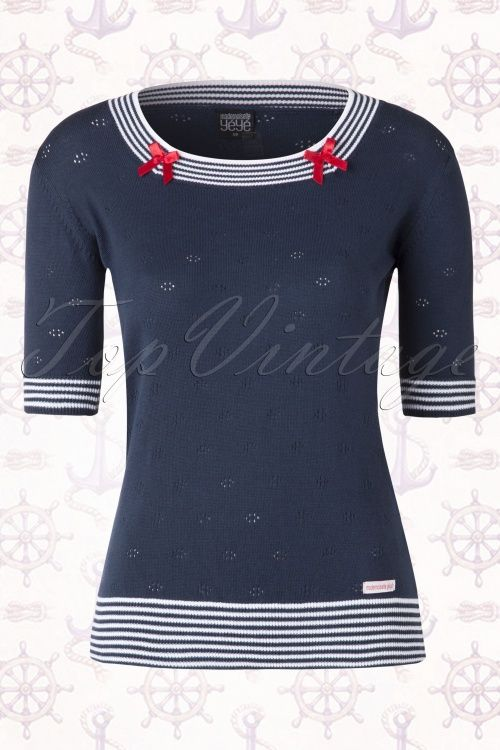 Mademoiselle Yeye  Mirabelle Blue Sailor Top 111 30 15458 20150415 0003W