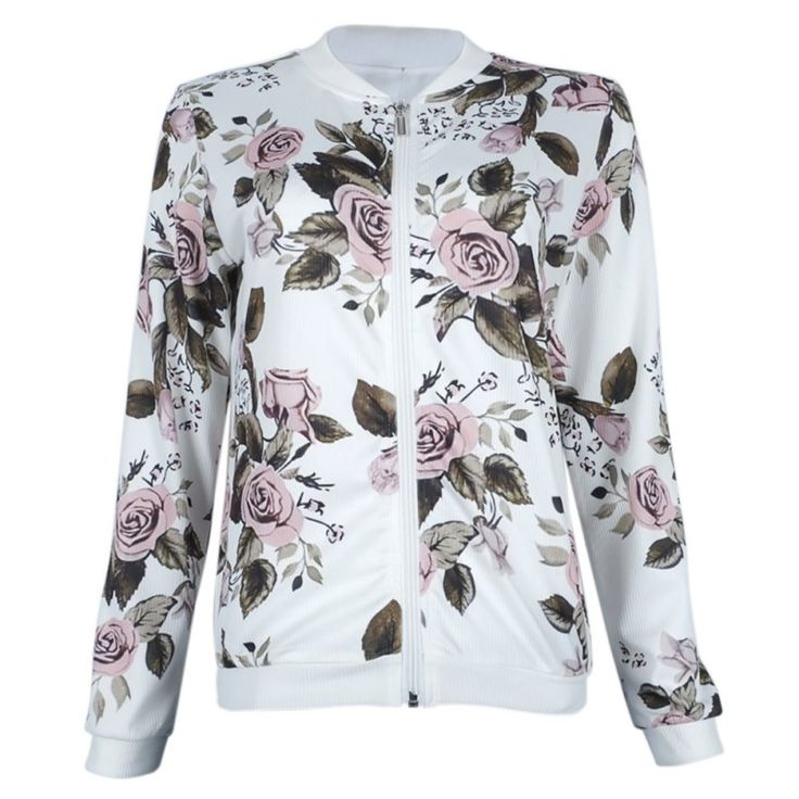 Print floral Women White Coat New Autumn jacket bomber jacket Zip  Casual Baseball Jacket  casacas mujer invierno 2017 #Affiliate