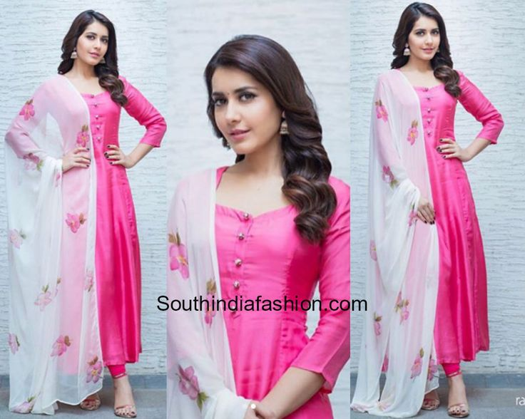 For Tholi Prema Interviews, actress Raashi Khanna wore a pink salwar suit paired up with a contrast floral printed dupatta by Picchika. silver jhumkis from Bcos It's Silver completed her look. Picchika by Urvashi Sethi, pink salwar with white dupatta, plain salwar floral dupatta