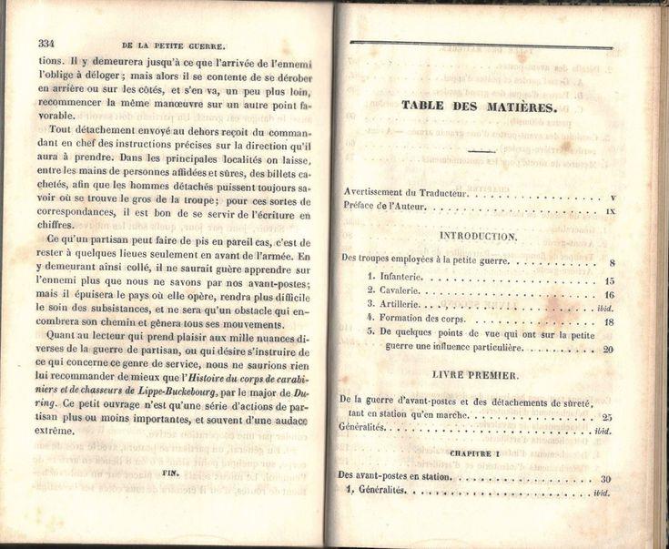 """Decker, """"De la petite guerre"""", Paris, J. Corréard, 1845. Table des chapitres, image 1 sur 4."""