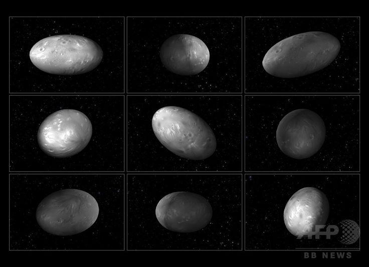 ラグビーボール型の冥王星の衛星「ニクス」の不規則な自転運動を、コンピューターシミュレーションを基に描いた画像(2015年6月3日公開)。(c)AFP/HANDOUT/NASA/ESA/M. Showalter/G. Baco ▼27Jul2015AFP|【写真特集】冥王星、探査機が最接近 明らかになるその姿 http://www.afpbb.com/articles/-/3054541 #Nix #نيكس #冥卫二 #冥衛二 #نیکس #Никта #닉스