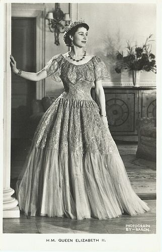 Young Queen Elizabeth II.  by Miss Mertens, via Flickr    I just love the sweep of the gown and the different materials!