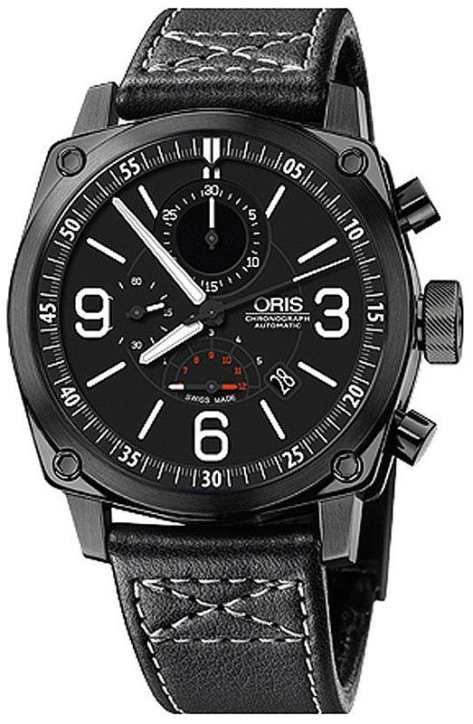 Oris 01 674 7633 4794-07 5 24 58BFC BC4 Chronograph Watch For Men PVD Black Coated Case