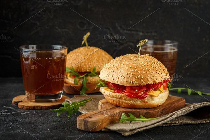 Homemade burger with arugula