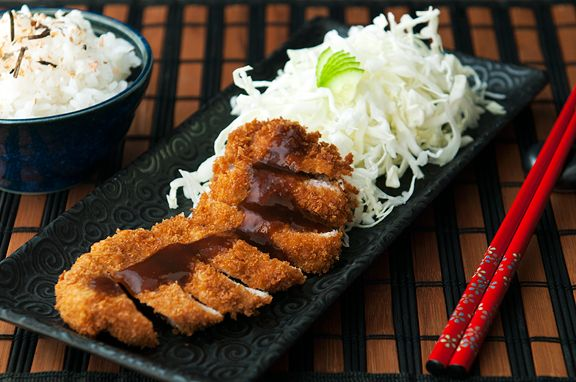 Tonkatsu (Japanese Pork Cutlet) from No Recipes 1/4 head of cabbage ...