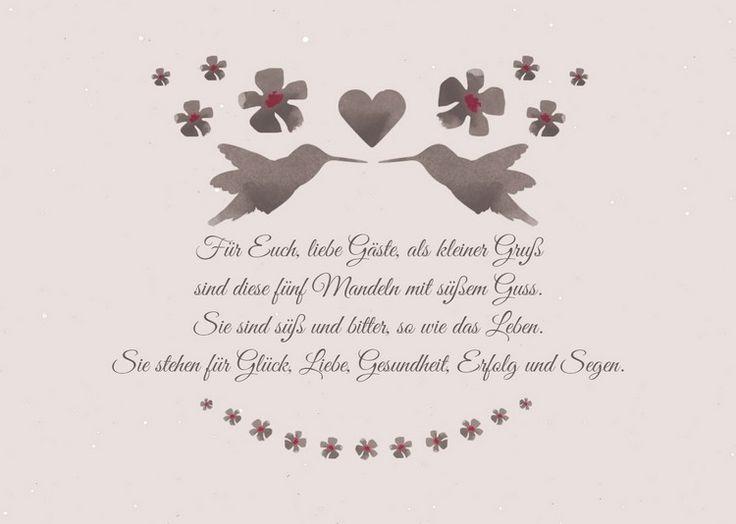 Spruch für Hochzeitsmandeln als Gastgeschenk