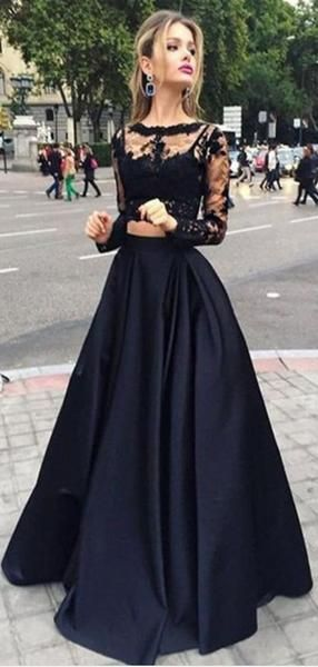 Black Two Piece Long Sleeve Prom Dresses, A-line Lace Two Piece Long Prom Dresses, Grad Dresses, Ball Gown Prom Dresses, TYP0067 – Anziehsachen