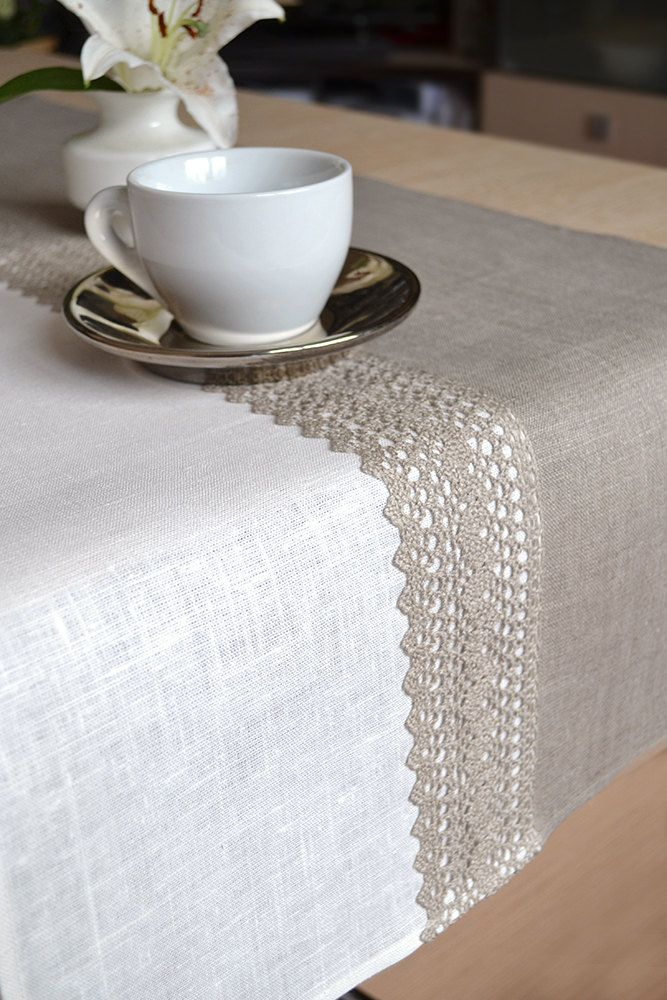 Natural Undyed Linen Table Runner Lacey Gray And White. $56.00, via Etsy.