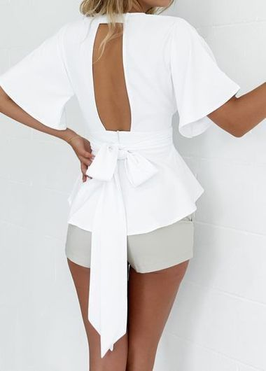 Open Bow Back Blouse