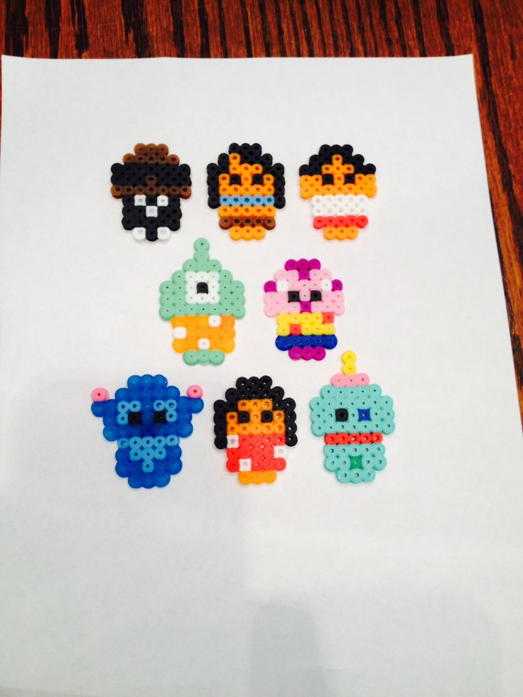 Lilo and Stitch cast out of pearler beads