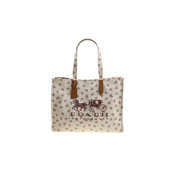 Coach Tote Bag With Logo And Floral Print ($286) ❤ liked on Polyvore featuring bags, handbags, tote bags, white leather tote, white leather tote bag, leather tote bags, coach purses and leather handbag tote