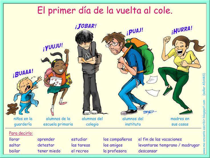 """Me encanta escribir en español: El primer día de """"la vuelta al cole"""" para los padres y sus hijos."""