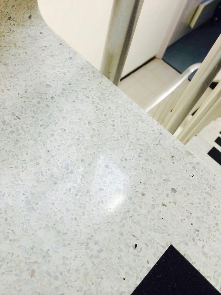 Diamond polished Terrazzo stair tread
