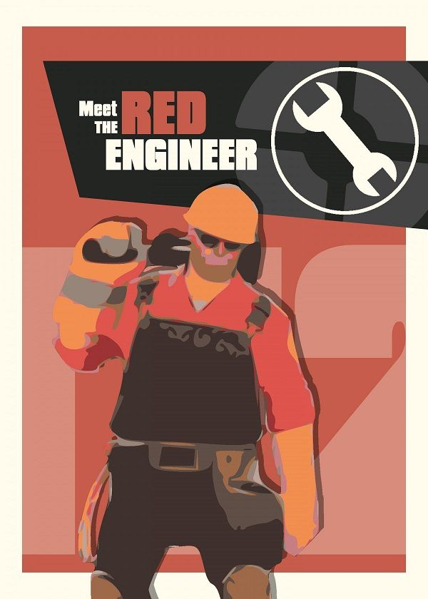 Team Fortress 2 Characters Meet The Red Engineer Displate Artwork