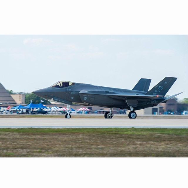 On your mark. Get set. Go! An F-35 Lightning II lands on the flightline at Joint Base Andrews, Md., Sept. 17, 2015. The plane can be seen during the 2015 JBA Air Show Sept. 19th. (U.S. Air Force photo by Senior Airman Mariah Haddenham) (This image was created using Instagram) #USAF #AirForce #Military #Aviation #Aircraft #Avionics #AvGeeks #F35 #Pilot #Flying #AirShow #AirDominance #IGAviation #InstagramAviation #PilotLife