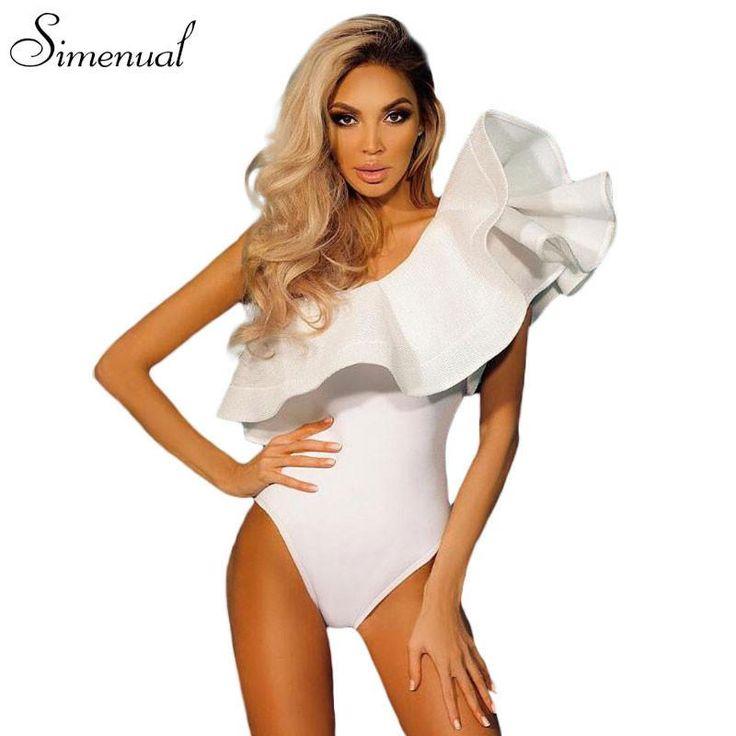 One shoulder ruffles fitness bodysuit women clothing 2017 fashion sexy hot slim bodycon jumpsuits solid ladies bodysuits rompers  #fashion #model #pretty #fashionista #swag #instalike #beautiful #ootd #instafashion #stylish