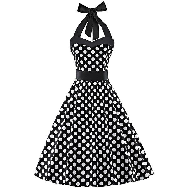V Fashion Women's Vintage 1950s Halter Neck Polka Dot Audrey Hepburn... ($13) ❤ liked on Polyvore featuring dresses, retro polka dot dress, vintage halter tops, halter cocktail dress, vintage halter dress and vintage dresses
