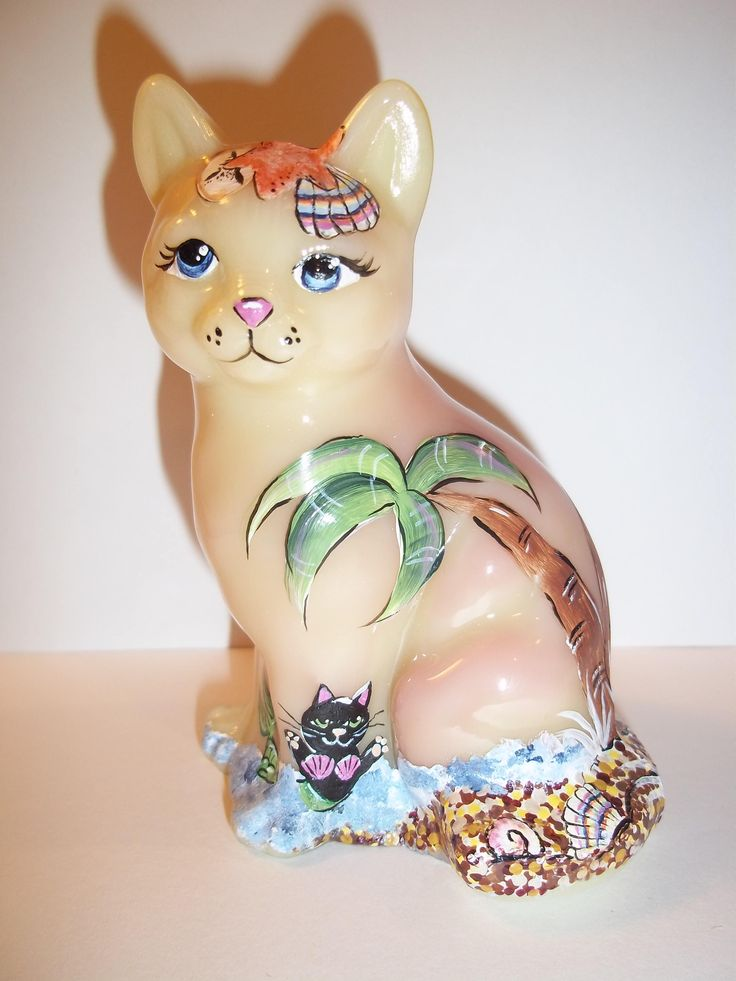 Fenton Glass OOAK Burmese Sitting Cat Bikini Kitty Beach Scene by Sunday Davis by TheEclecticCatStore on Etsy