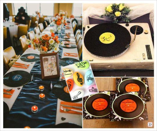 mariage musique faire part disque decoration table urne platine dragees note musique