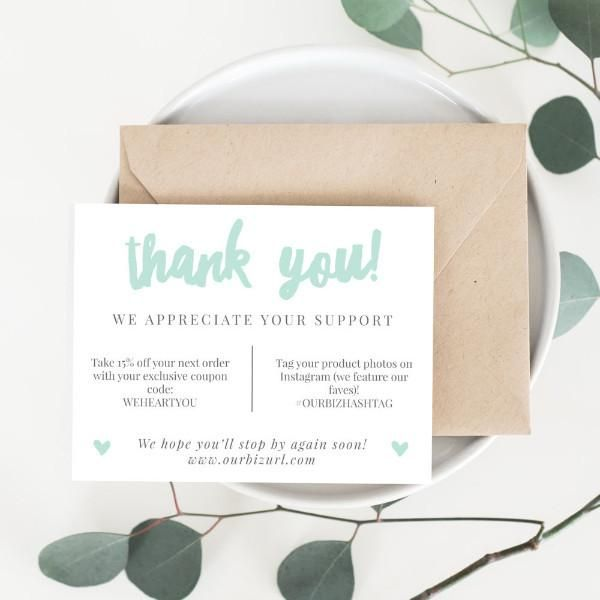 Printable Business Thank You Cards Template   Adelie