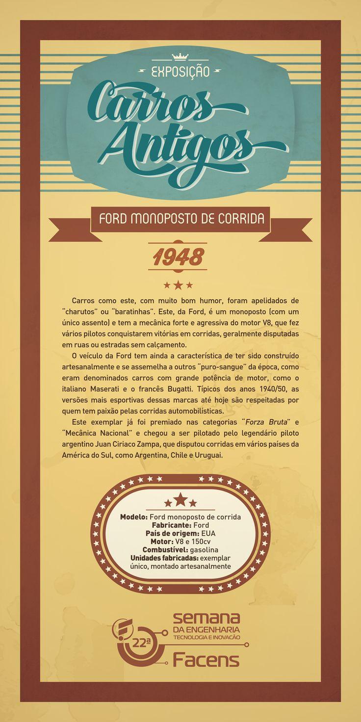 Banner 90x180 Exposição de Carros Antigos - Ford Monoposto. Desenvolvido pela Atua Agência para a Faculdade de Engenharia de Sorocaba Facens.