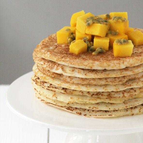Tropical Coconut Pancakes with Mango & Passion Fruit | feistyveggies ...
