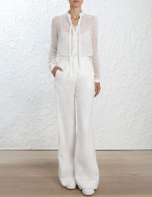 c5f0c3c2b8ec Zimmermann Radiate Tie Up Blouse. Model Image.